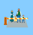 immigrant people at border concept banner flat vector image vector image