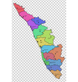 kerala map with districts highlighted vector image vector image