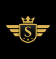 letter s shield wing vector image vector image