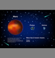 mars and its moons educational poster vector image vector image