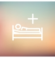 Medical bed with patient thin line icon vector image vector image
