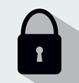 Padlock Flat Icon with Long Shagow vector image vector image