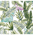 pastel green jungle blue flamingo white background vector image vector image