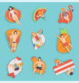 people floating on air mattresses in swimming pool vector image