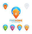 real estate logo home house logo pin home logo vector image