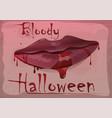 red feminine lips in blood bloody halloween vector image vector image