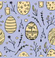 seamless easter pattern with doodle ornamental vector image