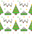 Seamless pattern background with christmas trees vector image vector image