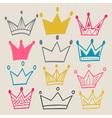set cute cartoon crowns vector image vector image