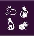 set logo cats pet emblem design on vector image