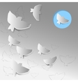Silhouettes of white birds on a gray background vector image