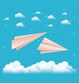 sky with paper airplanes vector image