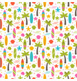 summer seamless pattern with surfboards palm vector image vector image
