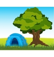 Tent under tree vector image vector image