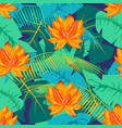 tropical pattern with lotus 1 vector image vector image