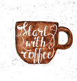 watercolor hand draw coffee cup and hand lettering vector image