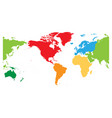 world map divided into six continents americas vector image vector image