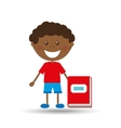 happy boy student red book graphic vector image