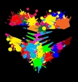 Paint splatter heart with two hands vector image