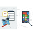 Time planning with app and paper vector image