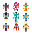 robots and transformers retro cartoon toys flat vector image