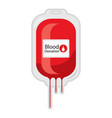 a blood donation bag with tube shaped as a heart vector image vector image