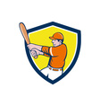 Baseball Player Batter Swinging Bat Crest Cartoon vector image vector image