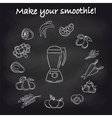 Blender and smoothie ingredients on chalkboard vector image