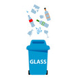 blue glass bin white background image vector image