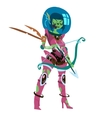 Cartoon flat funny space zombie amazon girl vector image
