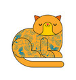 cat with tattoo fashionable stylish animal vector image vector image