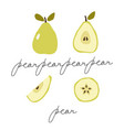 clip-art set different designs pear whole vector image