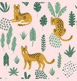 cute seamless pattern with hand drawn leopards vector image vector image