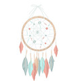 dreamcatcher made circle threads and feathers vector image