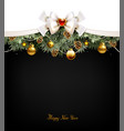 festive balls fir trees and cones on the vector image vector image