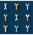 Flat wrench icon set over blue vector image
