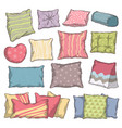 hand drawn colorful pillow and cushion set with vector image