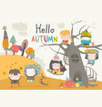 happy children playing in autumn park hello vector image