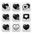 Heart love buttons set vector image vector image