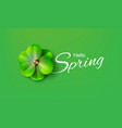 hello hi spring green background stock vector image vector image