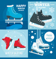 holiday winter skating banner set flat style vector image