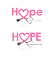 hope word iconbreast cancer october awareness vector image vector image