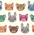 kids cute seamless pattern with heads of smiling vector image