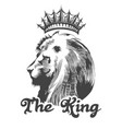 lion head with king crown vector image
