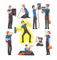male electrical engineers repairing and operating vector image