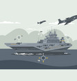 military aircraft carrier vector image vector image