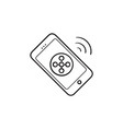 mobile phone connection hand drawn outline doodle vector image