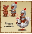 Mouse in steel armor on the chicken vector image