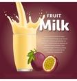 Passion fruit sweet milkshake dessert cocktail vector image vector image