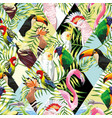patchwork tropical birds palm leaves multicolor vector image vector image